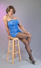 The Truest Of Blue! (kaceycd) Tags: crossdress tg tgirl lycra spandex minidress tubedress straplessdress pantyhose pumps peeptoepumps opentoepumps highheels stilettoheels stilettos s