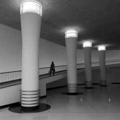 Brussels Central Satation (bjstevens) Tags: brussels belgium central station neons blackwhite city columns railway lonely digital hall