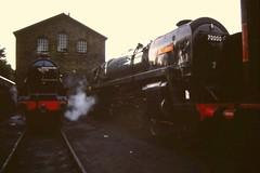 Haworth shed (scanned slide) (Jacobite52) Tags: 5305 70000 britannia br lms haworth kwvr worthvalleyrailway railway worthvalley train steam