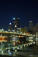 Vertical (lamnn92) Tags: pittsburgh andywarholbridge skyline downtown bluehour reflections icy water alleghenyriver northshore buildings architecture nightphotography lights colors longexposure hometown nightscape cityscape a7ii 35f14