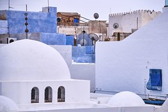 Hammamet Medina old city roofs. Tunis, South Africa. (ChargedOne) Tags: hammamet medina mediterranean northafrica tunis tunisia roof satellite dish plate fence grill window white blue sky travel summer view color colorful arabian city downtown old historical building dome wall upside day