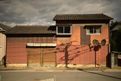 Garage and children's room. (Yasuyuki Oomagari) Tags: orange composition garage room shutter countryside annex light nikon nikkor d810 35mmf14g house japan kyushu fukuoka 日本 田舎 九州 福岡県 夕日