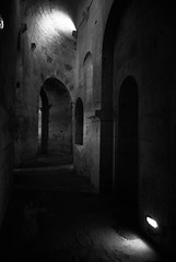 Light and shadows / Ombre et lumiere (CTfoto2013) Tags: ambiance mood atmosphere peaceful paisible monument architecture monochrome abbaye abbey monastery monastere france provence paca light lumiere shadows ombre perspective arcades noiretblanc blackandwhite nb bn bw blancoynegro arles bouchesdurhone panasonic lumix gx7 building arch wall abbayedemontmajour crypte crypt montmajour benedictin benedictine stonework
