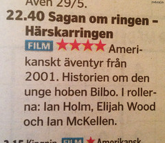 20170524_i1 TV guide fail, in which LOTR 1 is ''the story of the young hobbit Bilbo'' and Ian Holm plays the lead role | Gothenburg, Sweden (ratexla) Tags: lotr göteborg goteborg gothenburg sweden sverige scandinavia scandinavian 24may2017 2017 europe earth tellus photophotospicturepicturesimageimagesfotofotonbildbilder text letters randomshit europaeuropean norden nordiccountries iphone iphone5 newspaper paper tidning gp göteborgsposten lol lolz lulz funny haha humor accident swedish wtf what wat lordoftherings thelordoftherings bilbo frodo ianholm elijahwood saganomringen error fail