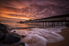A Break in the Cloud (Tracey Whitefoot) Tags: 2019 tracey whitefoot winter morning january sunrise dawn long exposure southwold pier coast coastal sea beach suffolk east anglia waves water movement warm tones golden