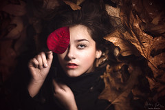 AVA ({jessica drossin}) Tags: jessicadrossin portrait woman leaf eye hand face lips pretty detail wwwjessicadrossincom brown red black fall autumn winter