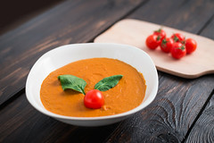 Pumpkin and carrot cream soup in bowl on a wooden background. Rustic, food. (botond.buzas) Tags: autumn background bolw bowl butternut carrot clean closeup copy cream creamy crushed cuisine curry delicious diet dinner eating focus food fresh garlic gourmet healthy hot meal orange parsley plate pumpkin rustic seeds selective soup space squash table tomato top vegan vegetarian view white wooden