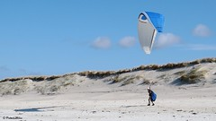 In the sky (patrick_milan) Tags: wind parachute win delta blue bleu sand plage beach saint pabu finistere paragliding parapente