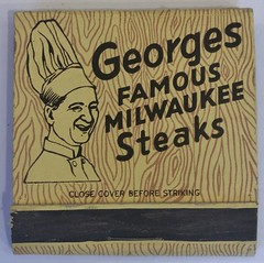 GEORGES FAMOUS MILWAUKEE STEAKS PALM SPRINGS CALIF (ussiwojima) Tags: georges georgesfamousmilwaukeesteaks restaurant bar cocktail lounge palmsprings california advertising matchbook matchcover