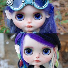 Before and After (Chassy Cat) Tags: freckles smirk simply guava blythe simplyguava weepingbeauty alpaca scalp reroot fantasy hair chassycat customized custom doll beforeandafter