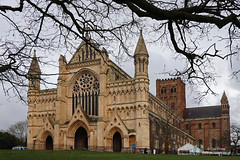 St Albans Cathedral (Owl Prints) Tags: stalbanscathedral stalbans cathedrals architecture brickwork normanarchitecture trees flintstone