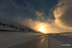 Driving in the Arctic (kevin-palmer) Tags: sweden europe arctic swedishlapland riksgransen march winter road highwaye10 evening sunset golden sunlight sun ice icy sigma14mmf18 nikond750 windy clouds scandinavianmountains