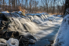 Winter Waterfall #1 (tquist24) Tags: bonneyvillemillcountypark hdr indiana littleelkhartriver nikon nikond5300 outdoor cold dam geotagged ice longexposure outside park river rocks snow spillway tree trees water waterfall winter