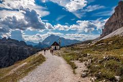 Tre cime di Lavaredo e la Cappella degli Alpini (BZ) (Ondablv) Tags: alpino nuvole bolzano alto adige bosco abeti massiccio ondablv alberi trentino dolomiti tre cime lavaredo cappella alpini controluce
