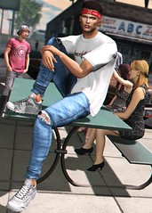 LOTD 409 (Brendo Schneuta) Tags: betrayal shirt hevo bleich sneakers locktuft hair bandana pants jeans wrong poses pose friends revoul catwa bento mancave sense soiree events event new releases keepcalm secondlifeblog sl secondlife second blog blogger bloggersl fashion moda style estilo boy male men game avatar virtual
