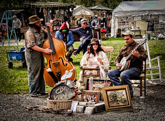 The Vaudevillian (13skies) Tags: thevaudevillian fleamarket music playing enteraining fun nostalgia uprightbass great style buying selling shopping singing percussion outdoors