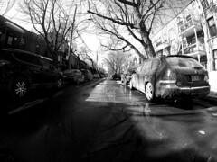 Plateau Mont-Royal Side Street 4 (Montreal) (MassiveKontent) Tags: winter snow street contrast noiretblanc blackwhite blancoynegro montreal bw city monochrome urban blackandwhite streetphoto montréal quebec canada photography bwphotography streetshot android absoluteblackandwhite frozen mono cold road cars montroyal plateau gopro