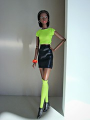 Timeless Adele (Deejay Bafaroy) Tags: fashion royalty fr integrity toys doll puppe adele makeda timeless black schwarz cap kappe portrait porträt neongreen neongrün orange barbie clothes kleider ankleboots stiefeletten