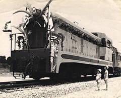 Israel Railways - ISR diesel locomotive Nr. 101 (Société Anglo-Franco-Belge, 1952) - Inauguration of the new Haifa-Tel Aviv line, 14 May 1953 (HISTORICAL RAILWAY IMAGES) Tags: רכבת ישראל קטר isr israel railways train diesel locomotive safb gm emd francobelge