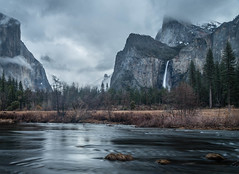 Blue Hour at Valley View (mary_hulett) Tags: stone rock bridalveilfalls landscape pine yosemitenationalpark mist elcapitan merced clouds mercedriver morning waterfall water yosemite iconic valleyview tree stream halfdome fog river park california cathedralrock