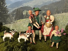 Picnic in the mountains (Foxy Belle) Tags: doll caco miniature mountain goat outside diorama plants bavarian german traditional folk clothing costume green red white family children schleich kid bell 116 118