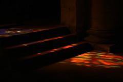 Sacred lights (gripspix (Catching up!)) Tags: 20180927 bourgogne burgund burgundy givrysaôneetloire church kirche église detail lights lichter boden floor glasfenster stainedglasswindows
