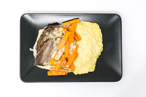 Boiled beef with carrot strips and mashed potato in sauce from Eat Simple