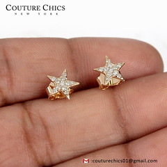 Natural 0.16 Ct Pave Diamond Star Stud Earrings/ Solid 18k Yellow Gold Fine Jewelry Gifts for Valentine (couturechics.facebook1) Tags: natural 016 ct pave diamond star stud earrings solid 18k yellow gold fine jewelry gifts for valentine