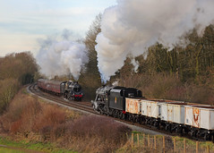Pass in Time (Treflyn) Tags: stanier 8f 280 48624 haul train mineral wagons north past kinchley lane gcr great central railway br british railways standard class 5mt 73156 steam south passenger service timeline events photo charter pass time passing shot