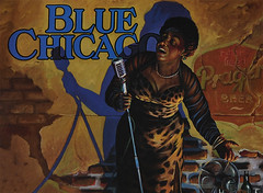 Red Hot Mama (Anthony Mark Images) Tags: bluechicago bluesclub bluesmusic woman singer microphone leoparddress fan glass bottleofwine postcard painting chicago illinois usa redhotmama shadow art singing beerad ladysingstheblues nikon d850 sweating johncarrolldoyle