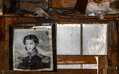 Hero Worship (Junkstock) Tags: aged abandoned arizona agedwindow artifact artifacts decay decayed distressed interior interiors nostalgia nostalgic old oldstuff rustic relic weathered wall wood window windows