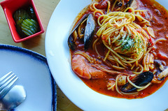 Seafood spaghetti with tomato sauce (phuong.sg@gmail.com) Tags: bacon baked basil braid cheese cooking delicious demigura durum eat europe flat flour food fried gourmet grated gratin hamburger italy lunch meal meat minced naples neapolitan noodles olive pasta pork sauce sausage seasoning semolina source spaghetti straps tomato travel vegetables wheat white