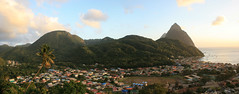 Soufriere and the Pitons, St Lucia (stitch) (h_savill) Tags: 2019 february feb caribbean st lucia antilles windward isles holiday trip vacation exploreworldwide travel view landscape island soufriere piton rainforest tree green plant foliage stlucia town buildings bay sea water coast ocean hills
