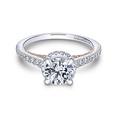 Slim Engagement Ring Crafted From 14k White Gold And Accented With Petite Round Diamonds Hiding in 14k Rose Gold (diamondanddesign) Tags: slimengagementringcraftedfrom14kwhitegoldandaccentedwithpetiterounddiamondshidingin14krosegold er13824r4t44jj bridal rd engagement rings gbbr 65 067 ct gabriel ny diamond 14k white gold rose front