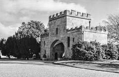 Ripley Castle (Richie Rue) Tags: ripley castle gatehouse yorkshire history historical building heritage monochrome blackandwhite film analogue fomafomapan200 caffenol homebrew ishootfilm istillshootfilm filmsnotdead nikonf90 outdoors