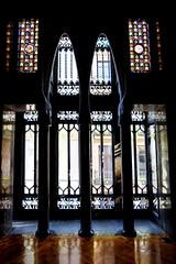 Palau Güell (Douguerreotype) Tags: window city barcelona symmetry buildings urban gaudi spain catalunya architecture glass