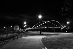 Night Park Footbridge (coljacksg) Tags: peter courtney minto island bicycle pedestrian bridge vintage vivitar kobori 28200mm f35 sony a7r salem oregon waterfront park foot path acid ball zoom night dramatic