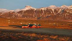 Veiðihús við Haffjarðará (hó) Tags: haffjarðará houses dusk hrútaborg kolbeinsstaðafjall landscape iceland mountains snow winter march 2019 geiteyri