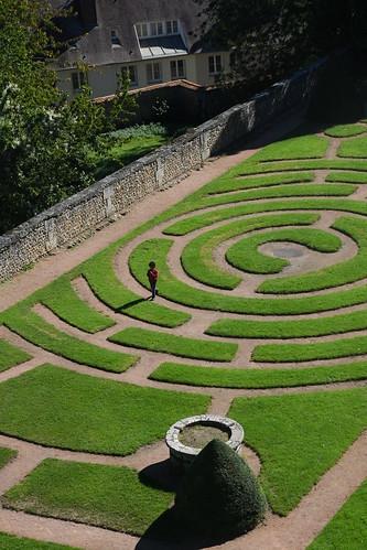 Boy in Grass Labyrinth 1