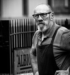 Trust me, I'm an Engineer! (Neil. Moralee) Tags: neilmoralee man old mature bald glasses beard bib braces overalls engineer work face portrait working mechanic engineering wsr railway steam black bw bandw blackandwhite mono monochrome neil moralee nikon d7200 candid stare