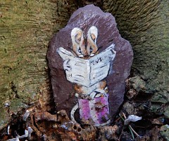 The Tailor of Gloucester (rockwolf) Tags: tailorofgloucester mouse reading beatrixpotter slate painting artwork beech abbeywood shropshire rockwolf