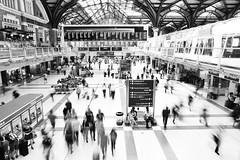 Life's A Blur (Douguerreotype) Tags: london england monochrome people blackandwhite uk british street train mono city britain urban gb bw station