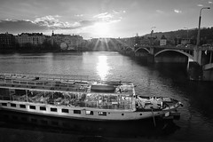 Prague | Late afternoon (Petr Horak) Tags: acros bw boat capital city clouds cze czechrepublic czechia europe evening fuji landscape outdoor outdoors prague river vltava