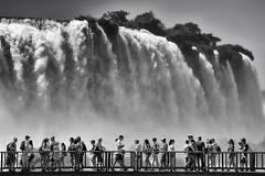 Iguaçu Falls 4 (from the Brazilian side) (RobertLx) Tags: water waterfall people travel tourism tourist iguaçu iguassu iguazu tropical monochrome bw brasil brazil southamerica america nature landscape nationalpark unesco 64 bwnature