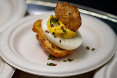 "The Royal Grocer & Co. – Lisa DoshierEgg in a Basket – bacon laced deviled egg nestled into a bacon gougere, topped with a ranch potato chip • <a style=""font-size:0.8em;"" href=""http://www.flickr.com/photos/124225217@N03/33687606098/"" target=""_blank"">View on Flickr</a>"
