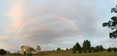 Double Rainbow, August 1, 2018 (marylea) Tags: aug1 2018 panoramic rainbow summer sky clouds midwest michigan washtenawcounty doublerainbow arc iphone