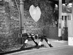 Il cuore di Como Lago (sirio174 (anche su Lomography)) Tags: zorki1 zorki industar22 ilfordfp4 cuore stazione train streetscape artedistrada streetart installazione comolago como italia italy