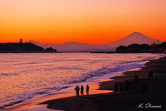 Sunset beach (kazs2307) Tags: beach sunset fuji mtfuji sea seashore sky landscape