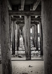 Under the Cayucos Pier 5 B&W (CDay DaytimeStudios w /1 Million views) Tags: beach ca california cayucos cayucousca coastline highway1 landscape morning ocean pacificcoast pacificcoasthighway pacificocean pier water