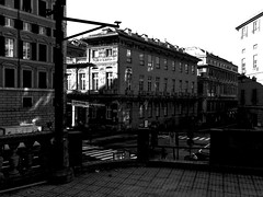 """Downtown"" (giannipaoloziliani) Tags: extremeblack flickr view ombre lights people monocromatico monochrome italy sunlight sun downtown capturestreets nikonphotography streetphotography shadows liguria lightandshadow extreme blackandwhite genova genoa biancoenero black"